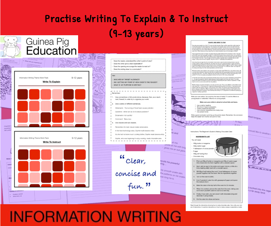 Practise Writing To Explain And To Instruct (Information Writing Work Pack) 9-14 years