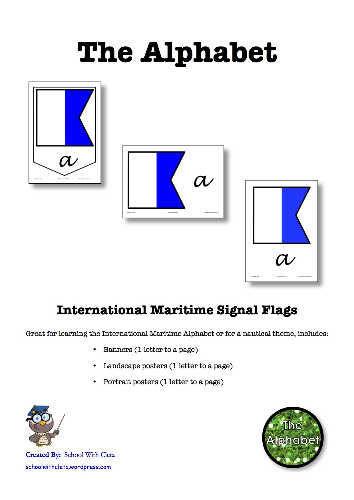 International Maritime Signal Flags Alphabet Banner & Posters: Cursive Writing