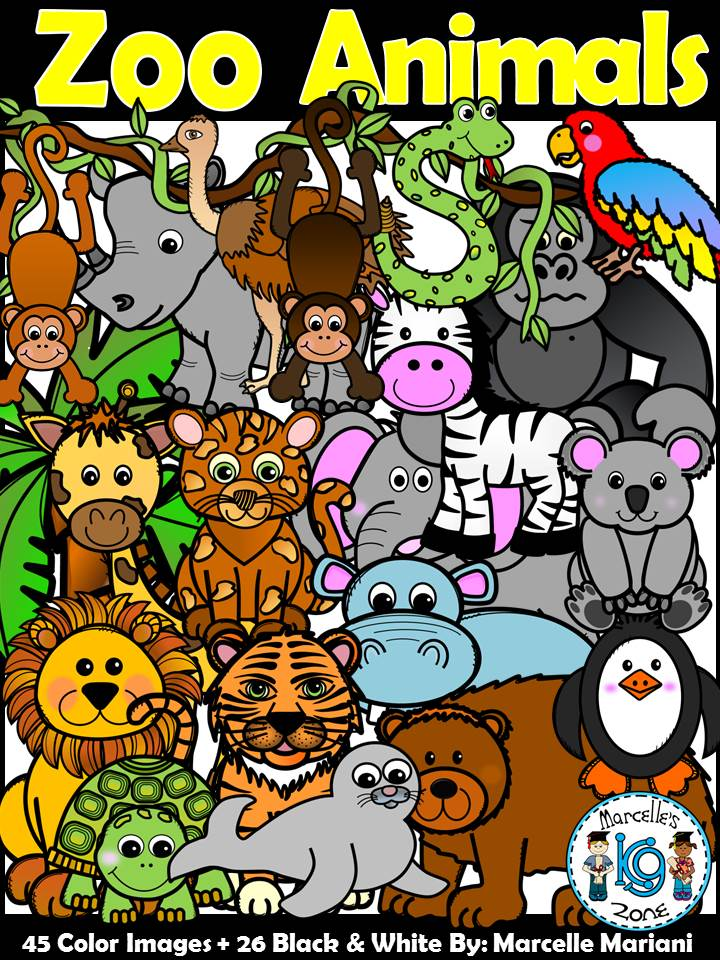 Zoo Animals Clipart- Safari Animals Clipart- (95 Images) Commercial Use