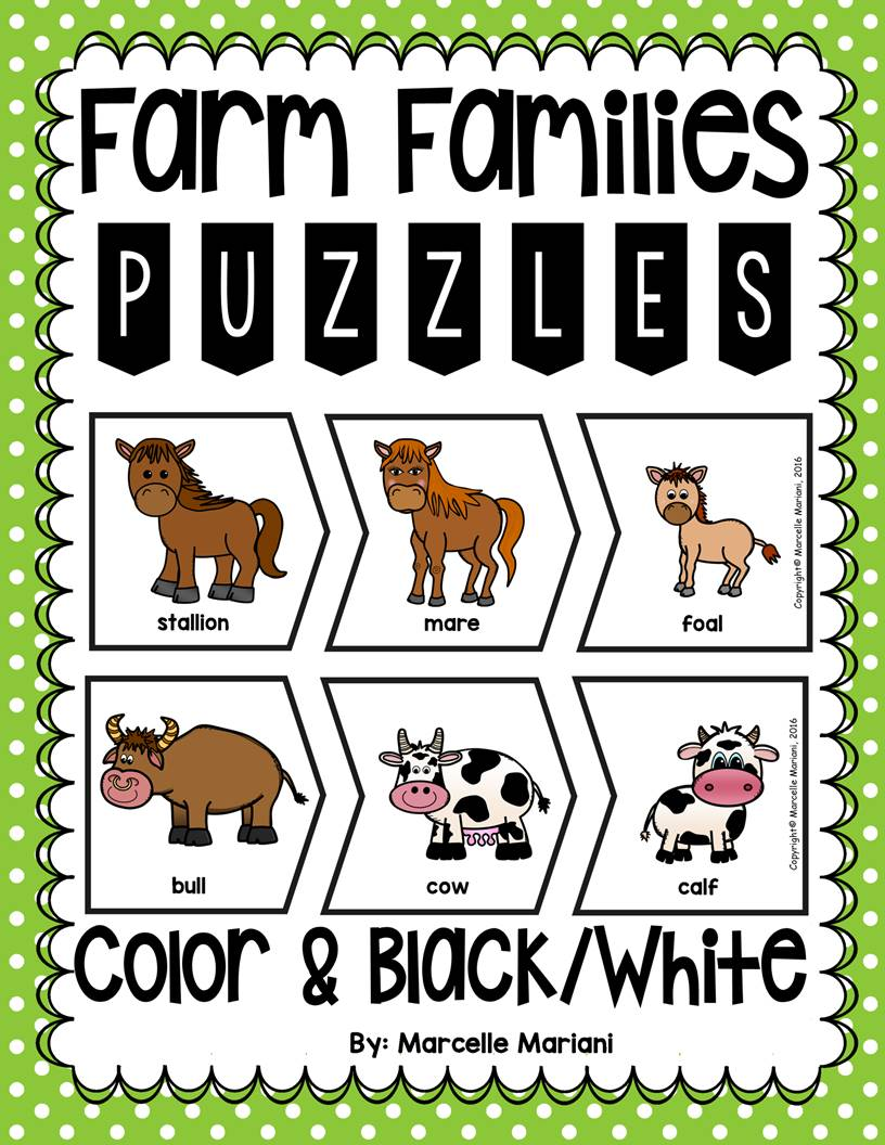 Farm Animals Families Puzzles