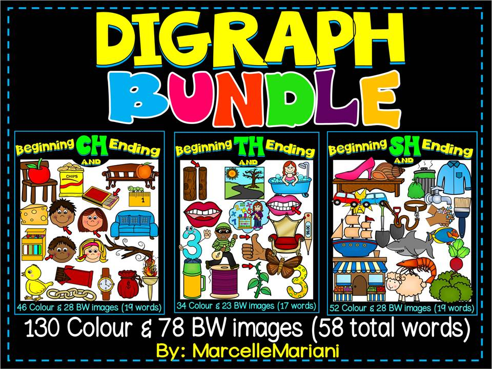 DIGRAPHS-BEGINNING & ENDING CH, SH AND TH DIGRAPH BUNDLE PACK (208 IMAGES)