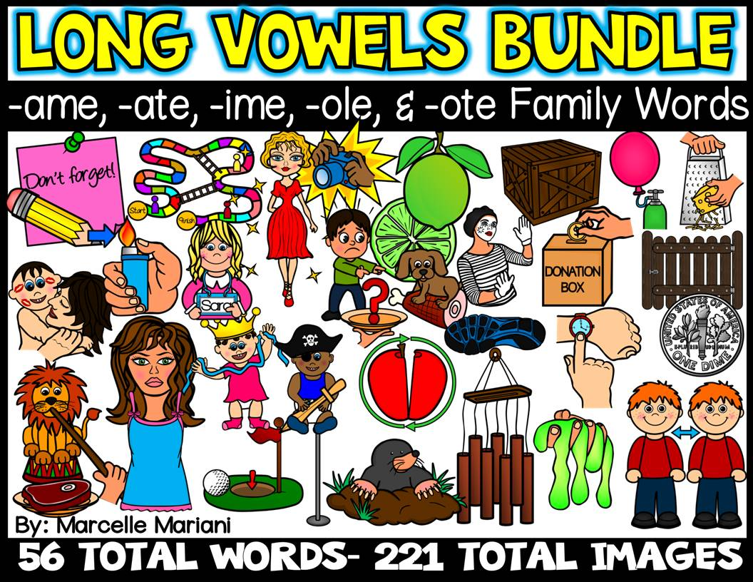 LONG VOWELS -AME, -ATE, -OLE, -OTE, & -IME CLIP ART BUNDLE- 56 Words, 221 images