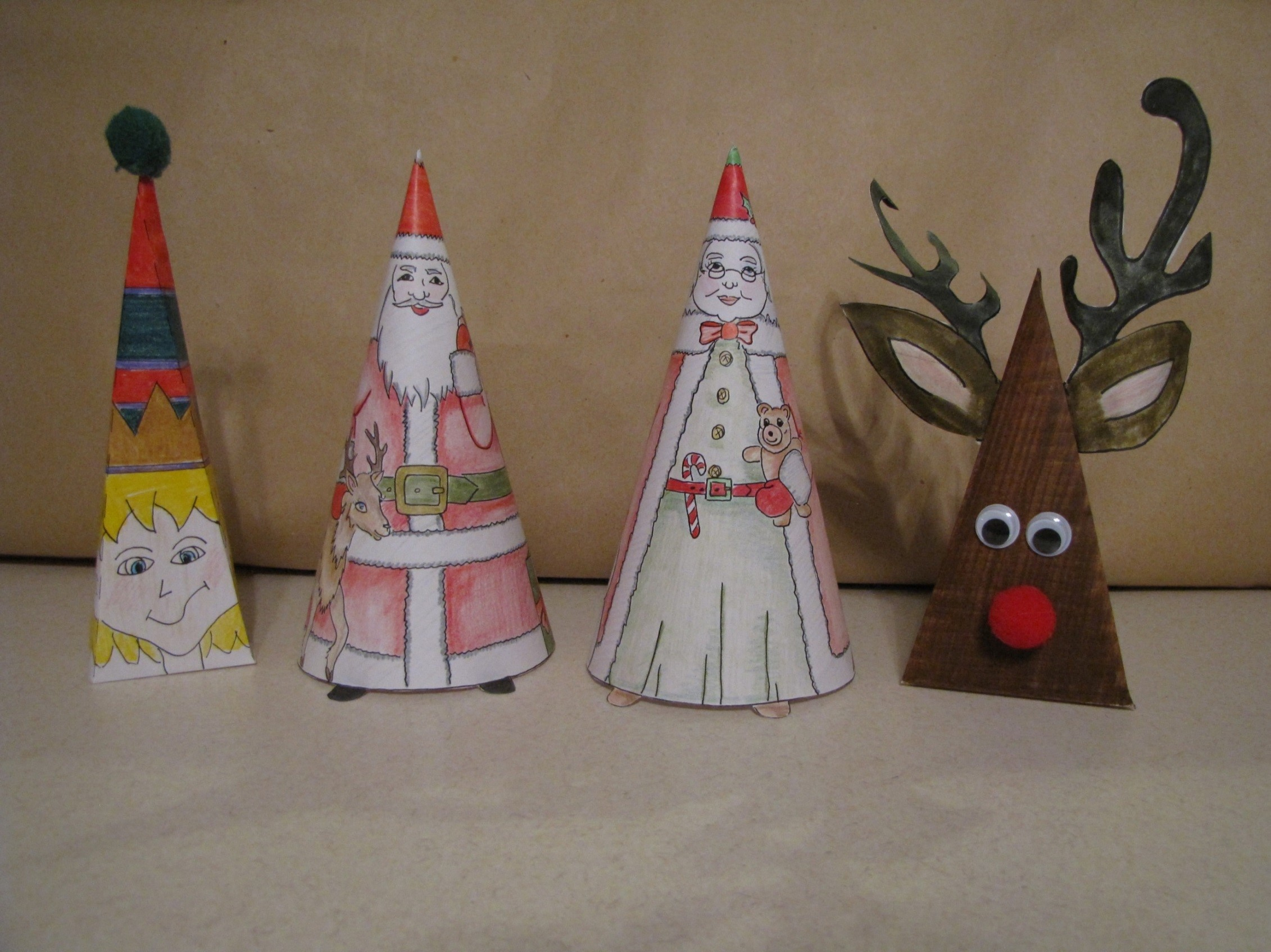 Christmas Crafts - Santa & Mrs. Santa coneheads, Elf, Rudolph and 2 cards