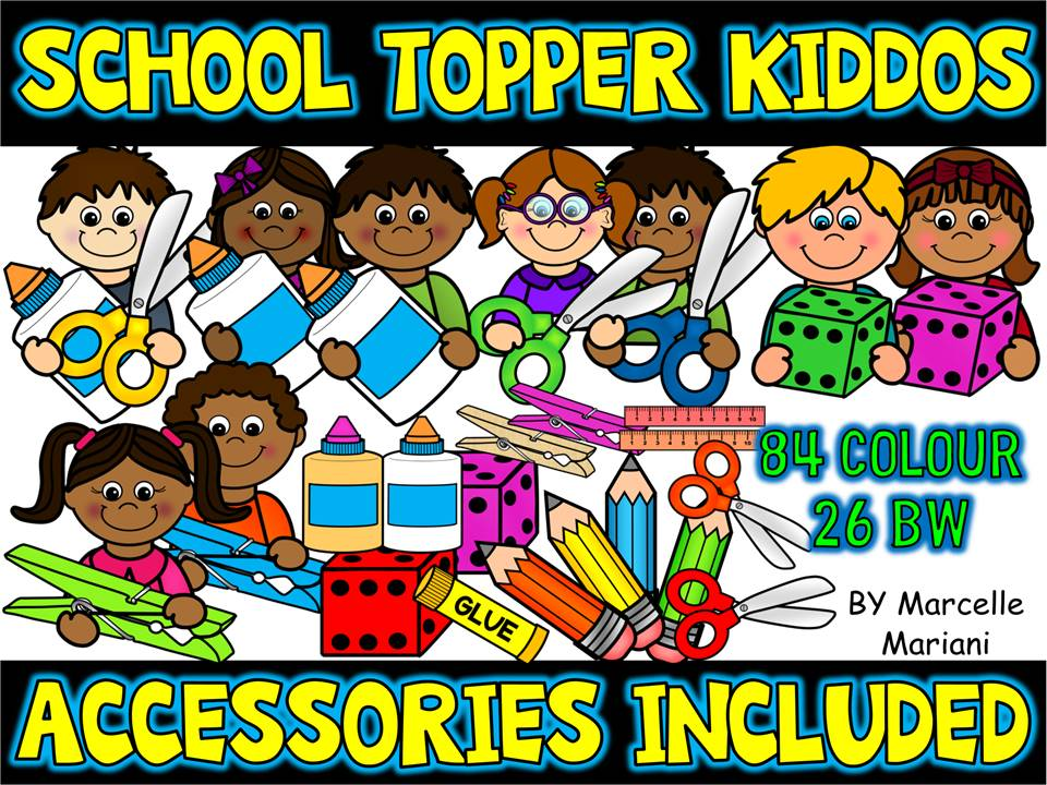 School Kids Toppers Clip art & school supplies Clipart-Commercial & Personal use