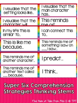 Super Six Comprehension Strategies Thinking Stems