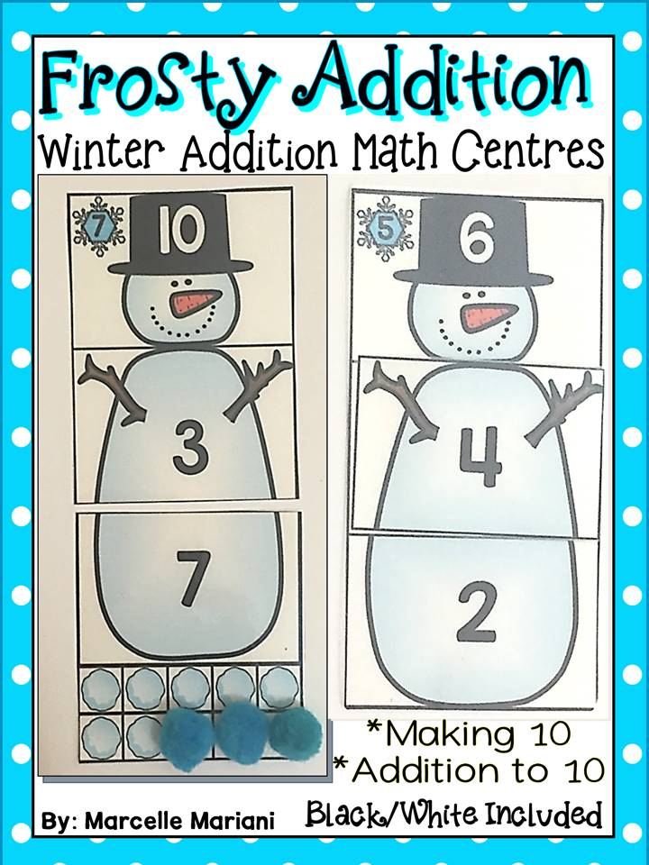 FROSTY ADDITION- WINTER MATH CENTRE ACTIVITIES- ADDITION TO 10