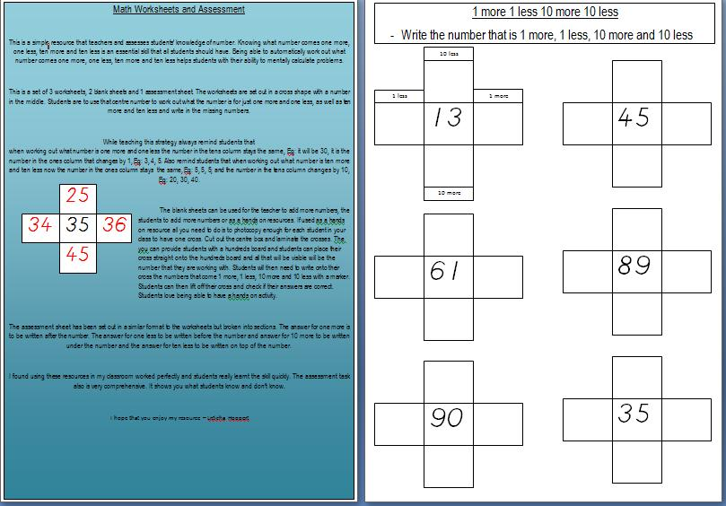 Maths Worksheets - 1 more, 1 less, 10 more, 10 less | Teach In A Box