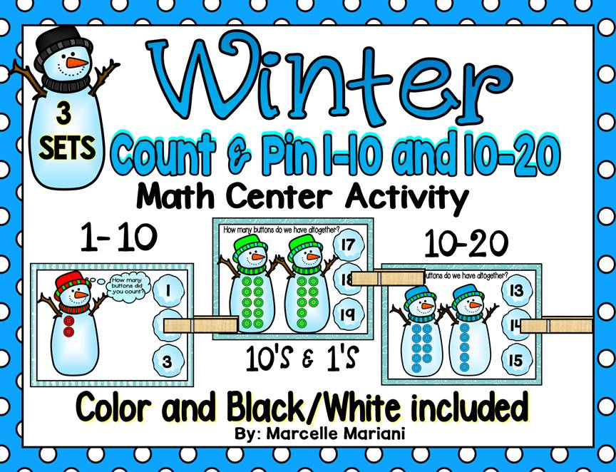 WINTER- SNOWMEN, Count & Pin Math Center Game- Colour + Black and white