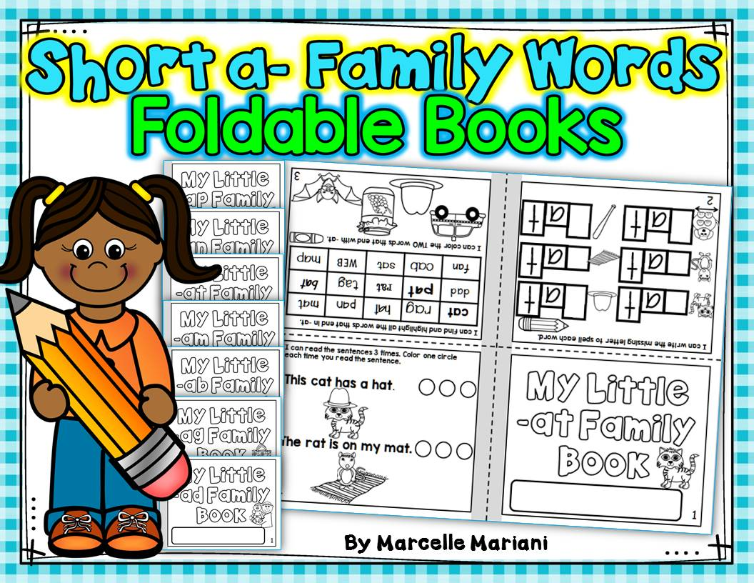 Word Family, short a ONE PAGE FOLD-ABLE BOOKS (7 Books)