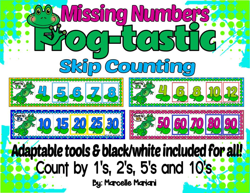Frogs- SKIP COUNTING and COUNT ON by 1's, 2's, 5's and 10's MATH CENTER