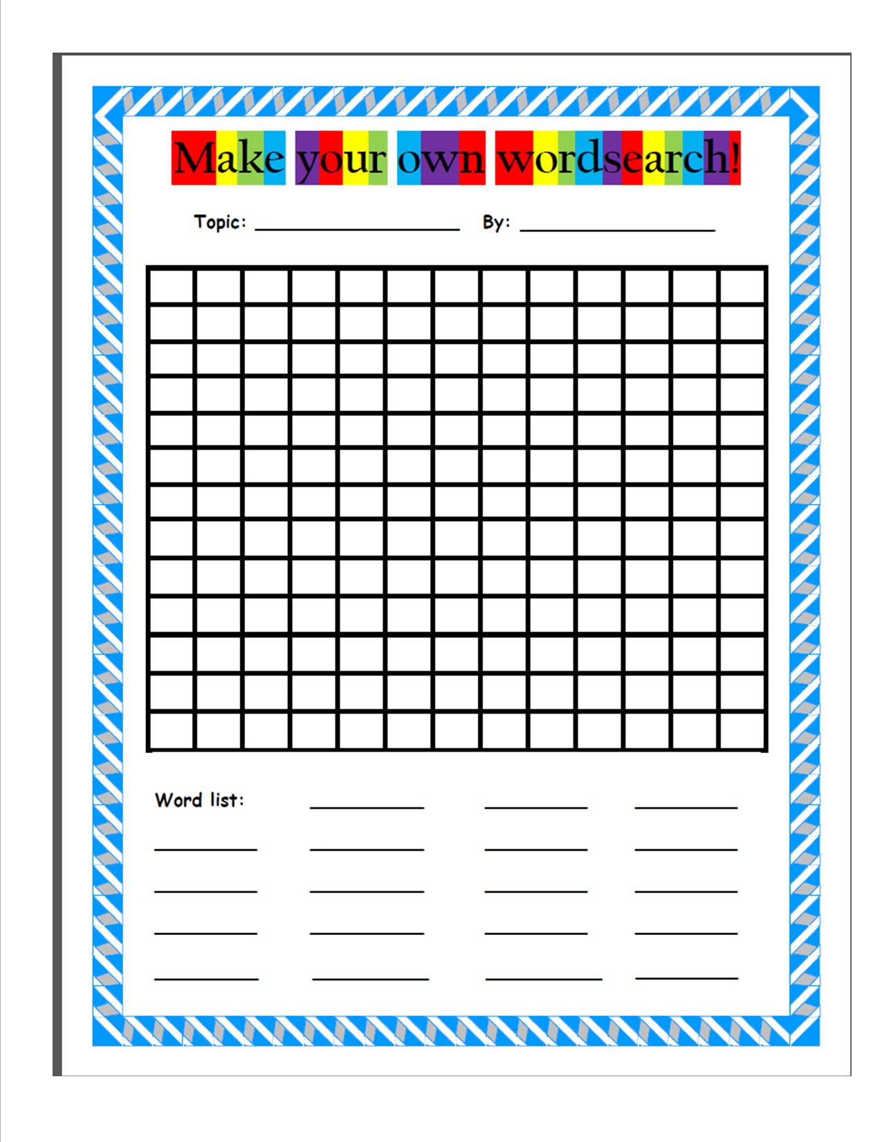Make your own wordsearch - kid friendly