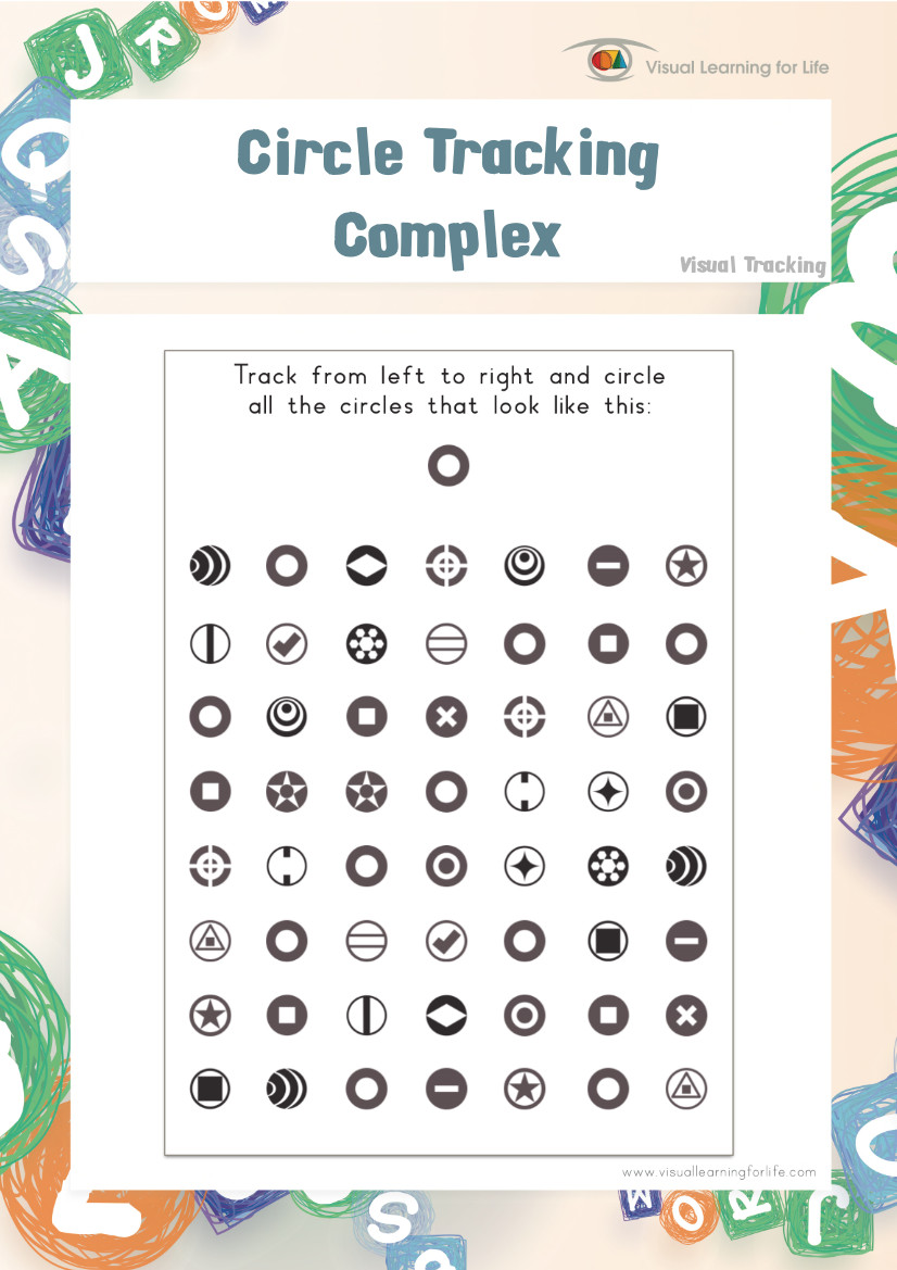 worksheet Visual Tracking Worksheets circle tracking complex teach in a box